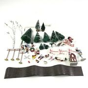 Eclectic Lot Of Christmas Forest Village Decorations Santa Children Snow Trees