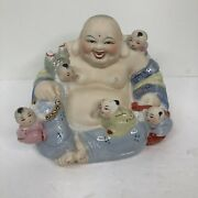 Vintage Chinese Porcelain Laughing Buddha With Five Children Statue Hand Painted