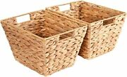 Natural Storage Hand Woven Baskets For Shelves 2 Pack Water Hyacinth Sturdy Bask