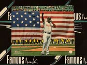 David Ortiz Signed Red Sox 16x20 Flag Photo W/our Fand039n City Insc Beckett Witness