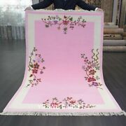 Yilong 4and039x6and039 Pink Handknotted Wool Carpet Chinese Art Deco Romantic Area Rug