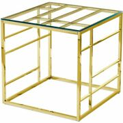 Best Master Furniture 22 Square Modern Clear Tempered Glass End Table In Gold