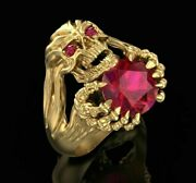 Unique Skull Ruby Claw Hand 14k 18k Gold Head Menand039s Biker Rider Ring Gift