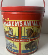 Vintage 1991 Barnums Circus Animal Crackers Tin Pail Red Plastic Handle And Lid
