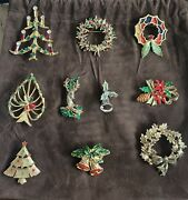 Vintage Costume Brooch-pin Jewelry Holiday Christmas Lot. Wearable