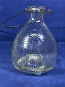 Vintage Glass Fly Catcher W/ Wire Handle And Embossed Flies No Chips Or Cracks