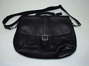 Coach Black Super Heavy Weight Leather Messenger Laptop Bag Barley Used