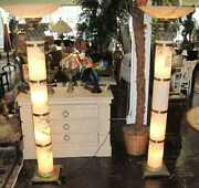 Mid Century Modern Pair 2 Of Backlit Onyx Torchieres Brass Base