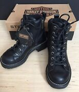 New Women Size 6.5m Harley-davidson Motorcycles Black Tracker Lace Up Zip Boots