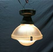 Vintage 10 Holophane Ceiling Light Brass Canopy Textured Glass Old 651-21b