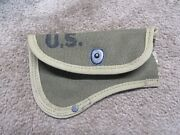 Vintage Us Army Usmc Ww2 Hatchet Axe Canvas Cover Carrier 1944 Dated Damaged