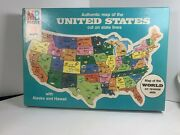 New Vtg Milton Bradley Puzzle Authentic Map Of The United States And World Map Nos