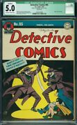 Detective Comics 85 Cgc 5.0 Qualified Early Classic Double Joker Cover Rare