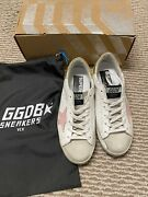 Nib Golden Goose Superstar White Gold Pink Limited Edition Sneakers 38