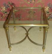 Ethan Allen Collectors Classics Accent Cocktail Table Brushed Steel Brass Glass