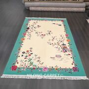 Yilong 6and039x9and039 Floral Handmade Chinese Art Deco Wool Rug Home Office Carpets