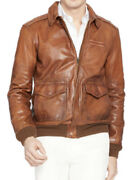 1298 New Polo A2 Xxl Brown Distressed Rrl Leather Jacket Bomber
