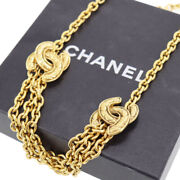 Cc Logos Used Chain Necklace Gold-tone 6051 Vintage Authentic Ad678 Y