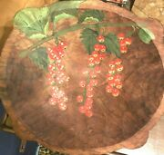 Large Hand Carved Wooden Bowl Hand Painted Fruit Leaves Natural Beautiful