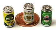 112 Scale 3 Empty Beer Drink Tins Tumdee Dolls House Miniature Bar Can Set 4