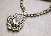Gorgeous Signed Weiss Vintage Rhinestone Teardrop Necklace, 15