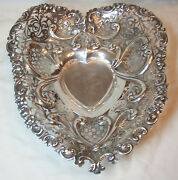 Gorham Sterling Silver Pierced And Footed Heart Bowl- 15 Toz Not Scrap
