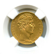 France Charles X 1824-1830 20 Francs Gold 1828 W Lille Ngc In The 55
