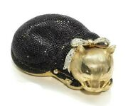 Judith Leiber Resting Cat Crystal Minaudiere Collector Bag
