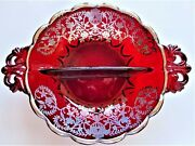 Antique Early 1900s Usa New Martinsville Ruby Red Glass Bowl Sterling Overlay