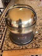 Vintage Ritchie Early Model Globemaster Brass Hooded 5 Binnacle Mount Compass