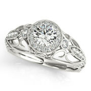 1.00 Ct Real Diamond Engagement Beautiful Ring 14k Solid White Gold Size 5 6 7 8