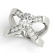 1.00 Ct Round Cut Real Diamond Engagement Rings 14k Fine White Gold Size 5 6 7 8
