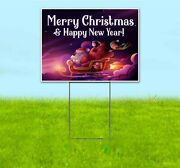 Merry Christmas Happy New Year 18x24 Yard Sign Corrugated Plastic Bandit Lawn