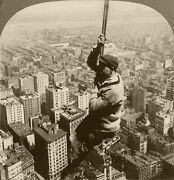 Keystone Stereoview Man Hanging On Cable 500 Ft Above New York 1910s Nyc Set 27