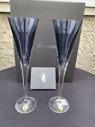 Nib Waterford W Collection Set Of 2 Lead Crystal Sky Blue Champagne Flutes