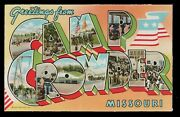 Vintage Unused Wwii Camp Crowder, Mo Large Letter Postcard, Free Shipping