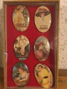 Lot Of 6 Coca Cola Mirrors With Glass Display Case