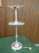 Rare Art Deco Airplane Dc3 Chrome Smoking Ashtray 40s Table Cigar Tray Airliner