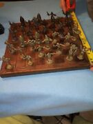 Hand Carved African Chess Set, Black Ebony Wood Board Pieces Bronz Set Hand Made