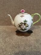 Herend Rothschild Hand Painted Porcelain Individual Teapot With Rose Finial