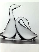 New In Box Glass Steuben Crystal Goose And Gander Gift Heart Birdperfect Set