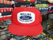 Vtg Ford Round Patch Trucker Hat Cap Auto Car Truck Mesh Made Usa Cardinal