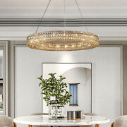 1-ring Crystal Chandelier 43 Inch Modern Luxury High Ceiling Led Pendant Lamp