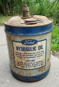 Vintage Ford Tractor Hydraulic Oil 5 Gallon Garage Gas Station Bucket Can Sign