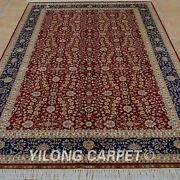 Yilong 5and039x8and039 Handknotted Silk Red Rug All-over Kid Friendly Floral Carpet 0199