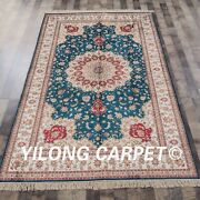Yilong 5and039x8and039 Handknotted Silk Area Rug Medallion Blue Kid Friendly Carpet Y313ab