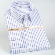 Men Long-sleeved Iron-free Striped Shirt Casual Standard Version Formal Business