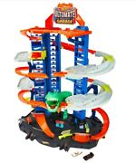 Hot Wheels City Robo T-rex Ultimate Garage Multi Level 100 Cars Parking Toy Gift