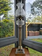 Huge 36.5 Inches 93cm Silver Plated Hinks Messenger Cut Glass Oil Lamp Vheavy
