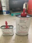 Lot Of 2 Vintage Dri Slide Collector Cans Rare 1 Ounce And 2.146 Ounce Oil Cans
